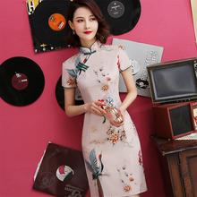 旗袍年tu式少女中国no款连衣裙复古2021年学生夏装新式(小)个子