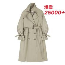 【现货tuVEGA noNG风衣女中长式收腰显瘦双排扣垂感气质外套秋冬