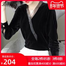 海青蓝tu020秋装no装时尚潮流气质打底衫百搭设计感金丝绒上衣