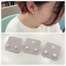 韩国首tv 925银bh白色珍珠耳钉 简洁耳环淑女温柔气质