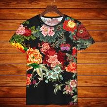 中国风tv牌印花短袖ie族风大码体恤男女情侣装植物花牡丹玫瑰