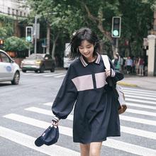 忠犬(小)tw梨形自制长fc裙-2021春撞色宽松长袖连衣裙学生女hot