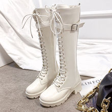 JUNtw筒靴女20hy冬新式骑士靴系带马靴英伦风不过膝女鞋高跟ins