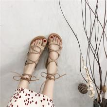 女仙女twins潮2hy新式学生百搭平底网红交叉绑带沙滩鞋