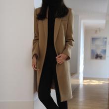 韩款秋tw季复古女士tt子大衣中长式加厚保暖驼色茧型毛呢外套