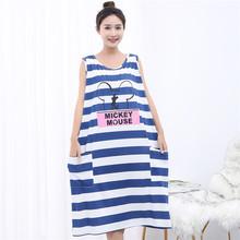 夏超肥tw大码无袖背fa夏季薄式胖MM200斤孕妇宽松睡衣可外穿