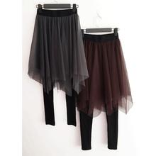 带裙子tw裤子连裤裙fa大码假两件打底裤裙网纱不规则高腰显瘦