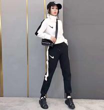 新式休tw运动套装欧fa冬上衣休闲长袖中厚纯棉修身时尚潮流