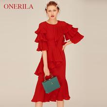 红色结tw订婚敬酒服fa媛(小)礼服裙子女平时可穿气质春装连衣裙
