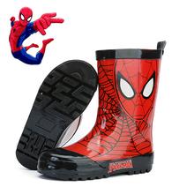 男童卡tw蜘蛛侠雨靴fa水卡通幼儿套鞋(小)孩学生胶鞋