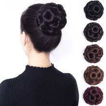 丸子头tw发女发圈花fa发蓬松自然发包盘发器古装发簪韩式发型