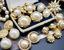 Vintwage古董sm来宫廷复古着珍珠中古耳环钉优雅婚礼水滴耳夹