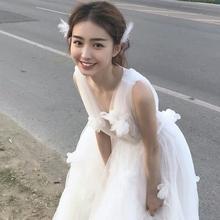 主轻婚tw森系旅拍超sb2020新式梦幻出门纱白纱日常轻纱礼服