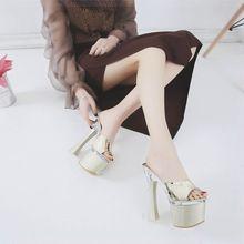 恨粗跟tw跟鞋超高跟sb20/22cm水晶透明凉拖鞋超稳