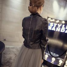 202tx年春秋新式tw外套女女士机车服黑色短式收身春季PU皮夹克
