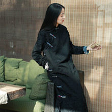 布衣美ty原创设计女de改良款连衣裙妈妈装气质修身提花棉裙子