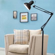 现代折ty铁艺长臂纹dg灯卧室阅读可调光遥控智能立式护眼台灯