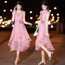 有女的ty的雪纺连衣dk21新式夏中长式韩款气质收腰显瘦流行裙子