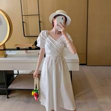 白色短ty超仙法式(小)id梗中长式设计感连衣裙2020年夏天新式女
