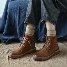 拙雅 素的斯琴ty格复古手作lz低筒马丁靴文艺短靴韩款皮靴潮