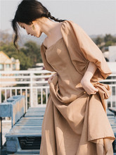 春装(小)ty复古法式桔ei山本森系超仙女法国过膝中长式连衣裙子