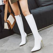 欧美漆tz高筒靴尖头kk色女靴子白色高筒靴大码44 45 46 47 48