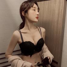 内衣女tz胸聚拢厚无ro罩平胸显大不空杯上托美背文胸性感套装