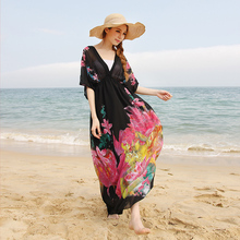 墨莎波tz米亚肥mmro松海边度假沙滩裙加肥大码雪纺连衣裙长裙
