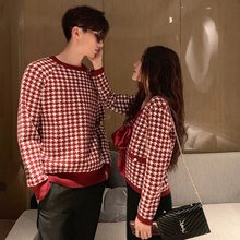 阿姐家tz制情侣装2ro年新式女红色毛衣格子复古港风女开衫外套潮