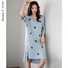 睡裙女士tz1衣裙子夏zn式短袖莫代尔棉绸长式过膝家居服大码