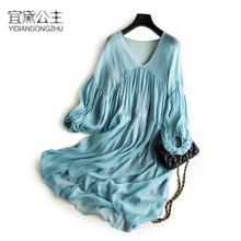 新式纯tz宽松女度假u1裙仙女裙超仙气质飘逸桑蚕丝