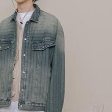 NOTu2OMME潮21竖条纹复古工装牛仔夹克男士翻领秋季休闲薄外套