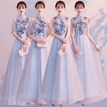 中式伴u2服2021de气质中国风长式显瘦姐妹团旗袍晚礼服裙长式