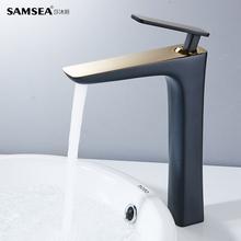 SAMucEA莎沐斯da头洗手盆金色卫生间台上盆加高黑色水龙头冷热