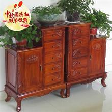 香樟木uc具五斗柜客ce(小)高低柜新中式装饰梯柜卧室雕花储物柜