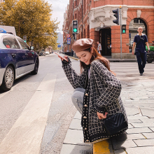 很仙的ud香风外套女qi松慵懒风毛衣外穿秋季韩款格子针织开衫