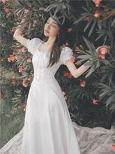 法式设uf感(小)众宫廷tr字肩(小)白色温柔风连衣裙子仙女超仙森系