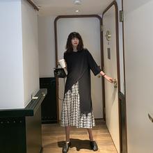 JHXuf 下摆开叉tr恤女宽松2019夏季新式学生韩款中长式T恤裙潮