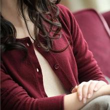 202uf春秋式羊毛re衫女短式韩款圆领薄毛衣修身外套打底羊绒衫