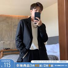 ONEukAX春季新ar黑色帅气(小)西装男潮流单排扣宽松绅士西服外套