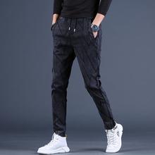 潮牌加绒ul1厚男士休ll韩款(小)脚裤牛仔裤秋冬长裤子男裤潮流