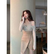 kubunliv20io式气质网红半身裙子女不规则高腰开叉包臀短裙