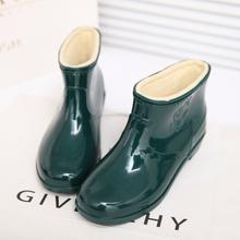 中短筒un绒雨鞋男女fr水防滑耐磨工作鞋塑胶套鞋水鞋保暖雨靴