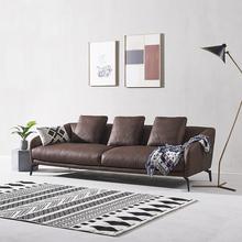 现代简un真皮沙发 fr层牛皮 北欧(小)户型客厅单双三的