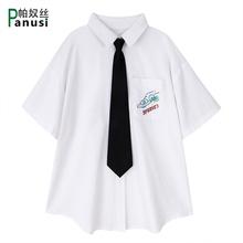 202un春夏新式日ar文艺范白色衬衫女宽松短袖学院风配领带衬衣