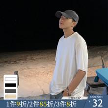 ONEunAX夏装新qu韩款纯色短袖T恤男潮流港风ins宽松情侣圆领TEE