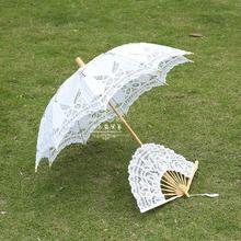 创意镂空un1新娘伞结qu伞复古宫廷伞白色蕾丝伞摄影道具木柄