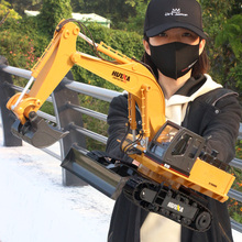 遥控挖un机玩具合金ve动钩机宝宝无线挖土机液压工程车模型男