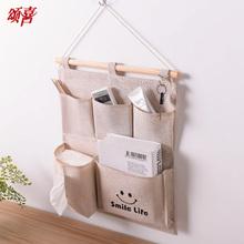 收纳袋挂袋强挂式储un6袋棉布艺ve悬挂储物袋多层壁挂整理袋