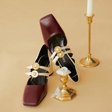 202un韩款春新式ve头单鞋女镂空一字扣带高跟鞋复古玛丽珍女鞋